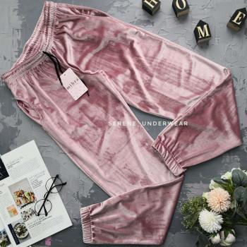 Жіночі велюрові домашні штани пудрового кольору 836