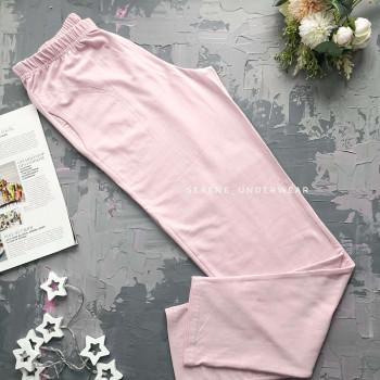 Жіночі байкові домашні штани пудрового кольору 840