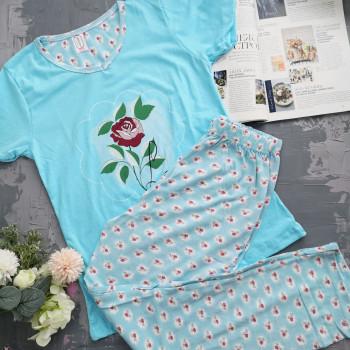 Жіноча бавовняна піжама штані та футболка 680