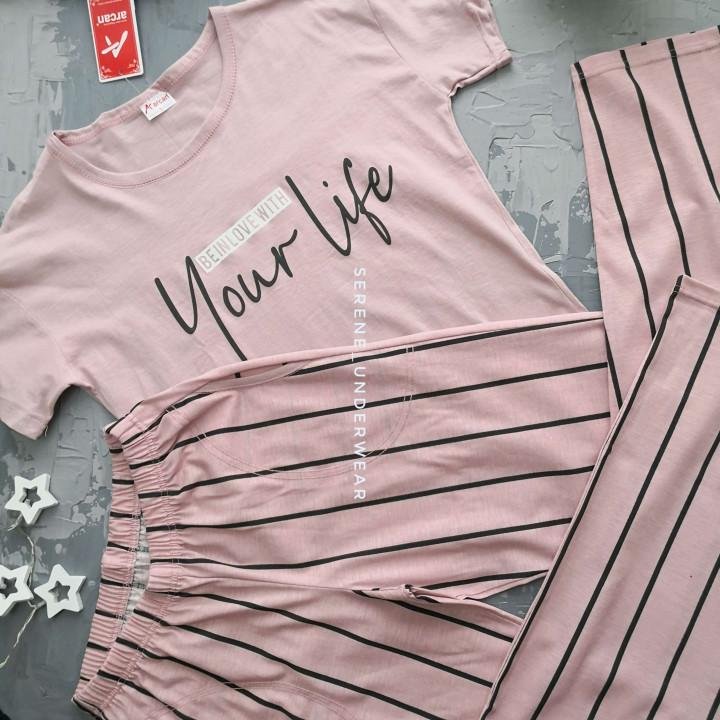 Жіноча бавовняна піжама штані та футболка Arkan 914