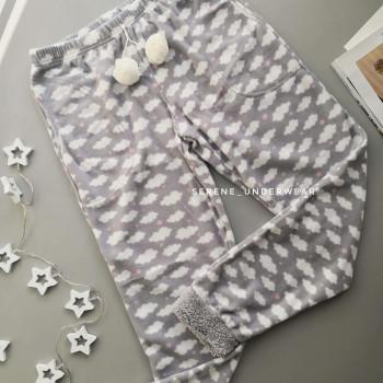 Теплі флісові жіночі домашні штани світло-сірий 1178