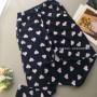 Женские теплые флиcовые домашние штаны темно синий 1177