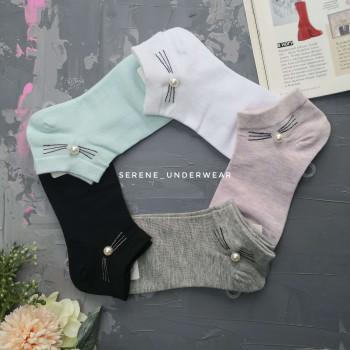 Жіночі короткі шкарпетки с перлинкою 968