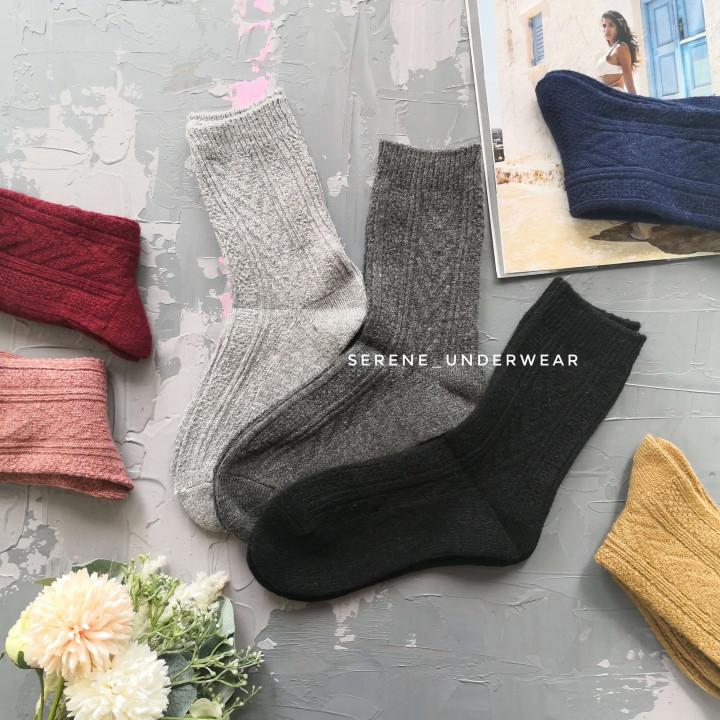 Женские теплые носочки классической высоты орнаментированные 1150