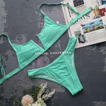 Жіночій купальник топ+трусики колір М'ЯТА 1006